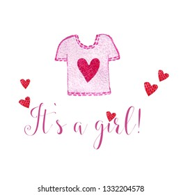 Nursery inscription of phrase its a girl with pink shirt. Nursery print for babies clothes.