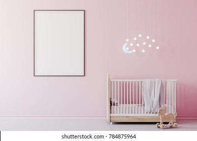 Nursery interior with pink walls, a concrete floor, a cradle with the Moon and stars above it and a framed poster. A toy on the floor. 3d rendering mock up