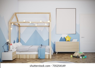 Nursery with a mountain wallpaper, a wooden floor, a double bed with a house like roof, a bedside table and a wardrobe. A framed poster and toys. 3d rendering mock up