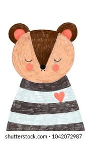 Nursery poster or postcard with cute bear
