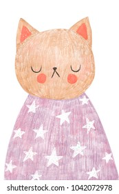 Nursery poster or postcard with cute cat