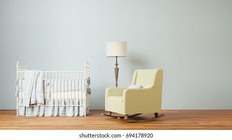 Nursery room 3d rendering