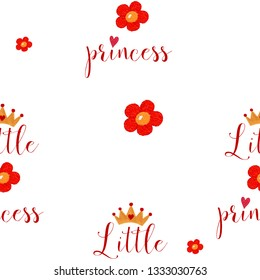 Nursery seamless pattern with little princess text for greeting card cover, wallpaper and other child design.