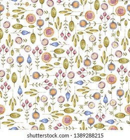 Nursery Watercolor wildflower seamless pattern isolated on white background. Aquarelle floral endless template, hand painted. Handpainted flowers wallpaper