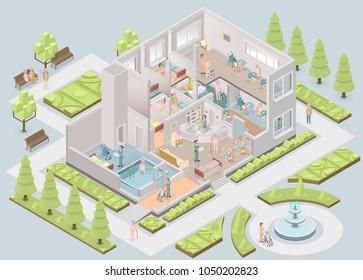 Nursing home. Assisted-living facility.  Illustration