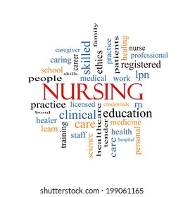 Nursing Word Cloud Concept with great terms such as licensed, skills, caring and more.