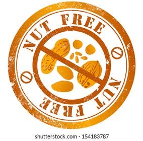 nut free grunge stamp, in english language