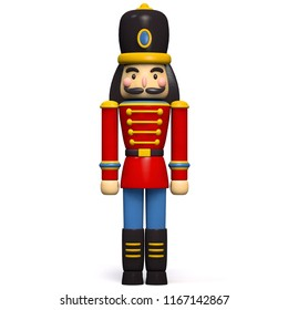 Nutcracker Christmas Decoration Character Isolated on White. Clipping Path Included.