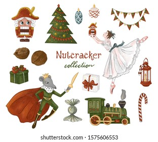 Nutcracker collection.The Nutcracker, balerina, Christmas tree, mouse, gifts, holiday decorations, children's toys. Hand-drawn illustration on white isolated background