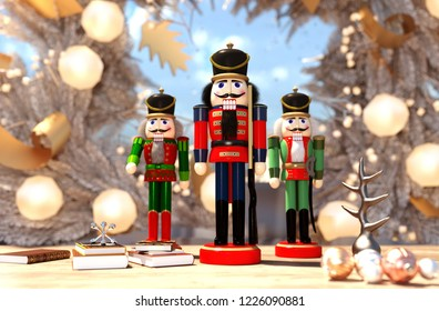 nutcracker decorated for Christmas background,3d rendering