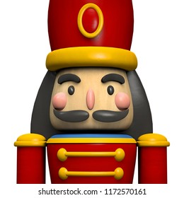 Nutcracker Soldier Christmas Decoration Character Face Close Up. Clipping Path Included. 3D illustration.