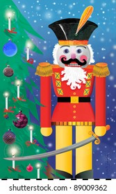 The Nutcracker.  Stylized Illustration of nutcracker with sword standing next to traditional Christmas tree.
