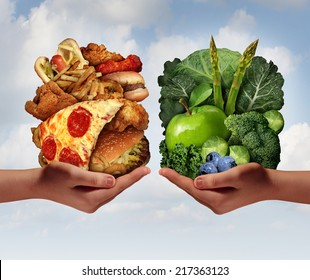 Nutrition choice and diet decision concept and eating dilemma between healthy good fresh fruit and vegetables or greasy cholesterol rich fast food with two hands holding meal options.