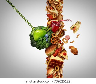 Nutrition detox concept diet breaking through as a break the habit symbol with a wrecking ball demolishing a wall of junk food or fastfood with 3D illustration elements.