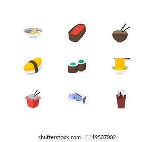 Nutrition icons set. Gunkan and nutrition icons with kappa maki, fork with spoon and unagi nigin. Set of prepared for web app logo UI design.