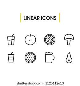 Nutrition icons set with mushroom, beer and pizza elements. Set of nutrition icons and fungi concept. Editable  elements for logo app UI design.