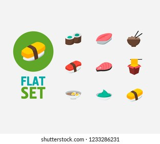Nutrition icons set. Saba nigiri and nutrition icons with egg soup, kappa maki and wasabi. Set of green for web app logo UI design.