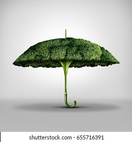 Nutrition protection benefits and food power to fight disease and increase the immune system by eating natural ingredients as a broccoli shaped as an umbrella with 3D illustration elements.