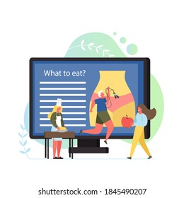 Nutritionist concept flat illustration. Woman figure with slim waist on big computer monitor, tiny characters dietitian giving apple to woman making dough, man with jump rope. Healthy lifestyle
