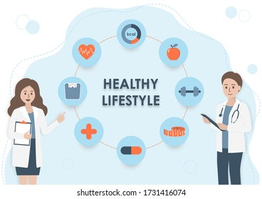 Nutritionist doctor or dietitian with stethoscope, clipboard and health icons on light blue background. Wellness healthy lifestyle, healthcare and nutrition diet plan concept. Flat style illustration.