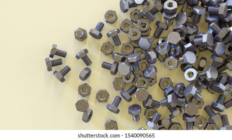nuts bolts metal screws hardware store fastener  3D illustration
