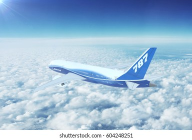 NYC, NEW YORK, UNITED STATES - CIRCA 2017: In-flight view of Boeing 787 Commercial Passenger Aircraft Flying High Up in the Sky Above the Clouds. 3D Illustration.