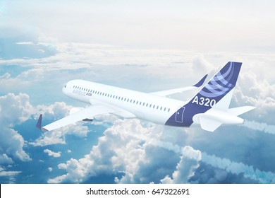 NYC, NEW YORK, UNITED STATES - CIRCA 2017: Aerial view of Airbus A320 Commercial Passenger Aircraft Flying High Up in the Sky Above the Clouds. 3D Illustration.