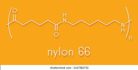 Nylon (nylon-6,6) plastic polymer, chemical structure. Skeletal formula.