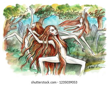 Nymphs. Forest nymphs dancing. Hand drawn illustration. Watercolor painting