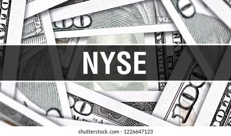 NYSE Closeup Concept. American Dollars Cash Money,3D rendering. NYSE at Dollar Banknote. Financial USA money banknote Commercial money investment profit concept