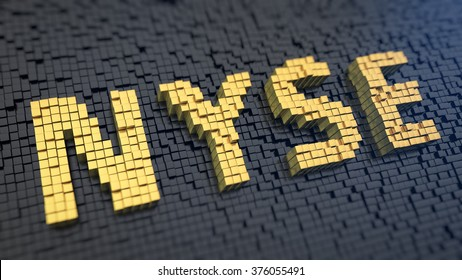 NYSE feature picture. Quotes, events on the New York Stock Exchange. Word NYSE of the yellow square pixels on a black matrix background. 3D illustration jpg