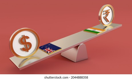NZD vs INR, New Zealand dollar vs Indian Rupee symbol sign 3D golden INR Money on seesaw and both countrys Flage. 3D render isolated on Pink background