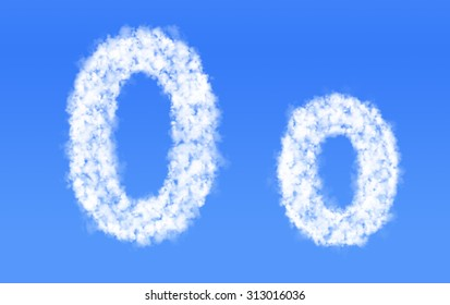 O o font clouds,English alphabet from clouds