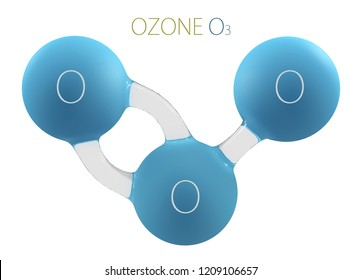 O3 ozone 3d molecule isolated on white