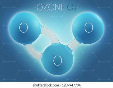 O3 ozone 3d molecule isolated on abstract background