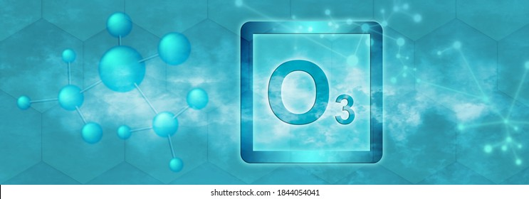 O3 symbol. Ozone molecule with molecule and network on grey background