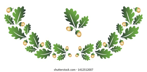 Oak acorn clip art tree branch wreath  wreath  Natural green ornament illustration
