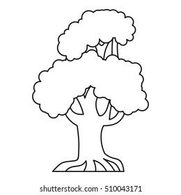 Oak tree icon. Outline illustration of oak  icon for web