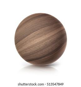 oak wood ball 3D illustration on white background