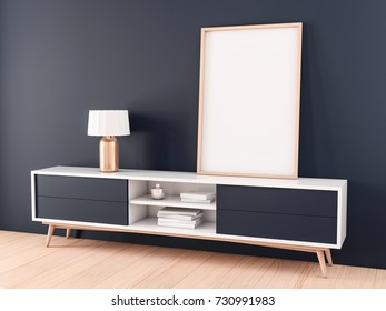 Oak wooden poster Frame standing on console in modern interior. 3d rendering
