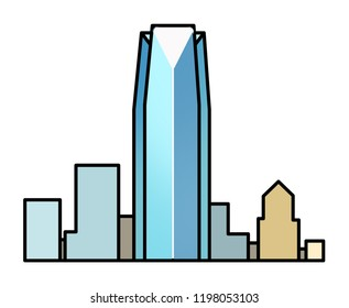 Oaklahoma City Downtown Skyline, a simple graphic icon illustration