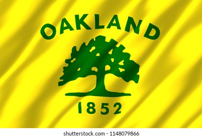 Oakland California 3D waving flag illustration. Texture can be used as background.