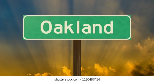 Oakland road sign with sunburst. High-resolution 3D illustration using the authentic US Highway Gothic font.