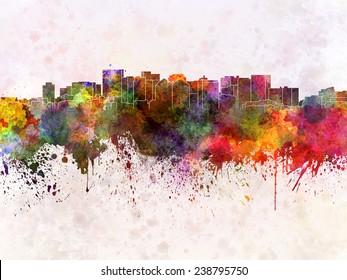 Oakland skyline in watercolor background