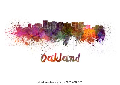 Oakland skyline in watercolor splatters with clipping path