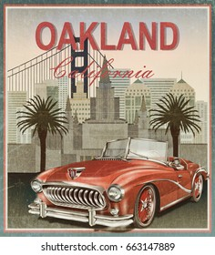 Oakland,California retro poster.