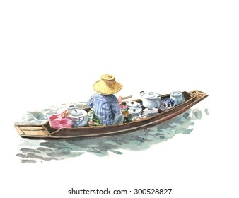 oarsman.floating market. food merchants of  attraction Ampawa city in Thailand. watercolor painting. Asian background illustrations concept.