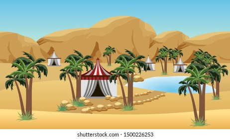 Oasis in desert with Bedouin camp. Landscape for cartoon or game background. Desert, sand dunes, lake, palms and Bedouin tents.