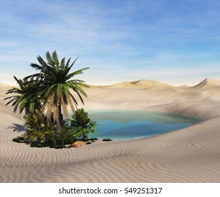 Oasis in the desert. Palm trees and a lake. 3d rendering.