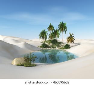 oasis in the desert. palm trees and sand. 3D rendering.